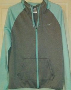 NIKE Therma Fit Hooded Zip Front Jacket Aqua Grey